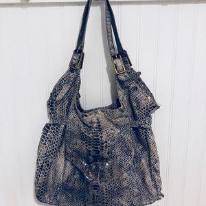 Elliott Lucca gray python leather hobo Bag Purse
